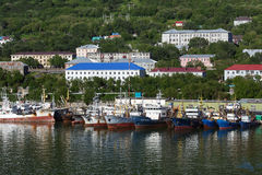 View of port Petropavlovsk-Kamchatsky and ships standing at the pier Royalty Free Stock Image