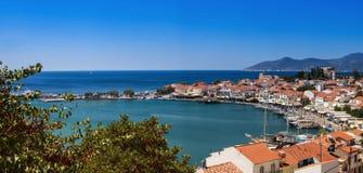 View of the port of Pythagoreio, Samos, Greece royalty free stock photos
