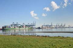 View of port from rural setting with China Shipping Line Ship Stock Photography