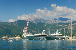 View of port in Tivat city, Montenegro Stock Photography