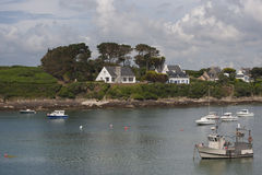 View of the port in the town of Le Conquet (France). Royalty Free Stock Photos