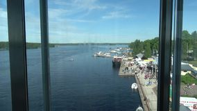 A view of the port town of Puumala from elevator. Puumala, Finland stock footage