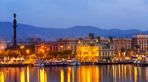 View of Port Vell at Barcelona in night Stock Photo