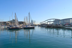 View of Port Vell in Barcelona, Spain Stock Image
