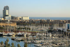 View of Port Vell in Barcelona, Spain. View of Port Vell with a lot of yachts in Barcelona, Catalonia, Spain Stock Photography