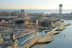 View of Port Vell in Barcelona, Spain. View of Port Vell with a lot of yachts in Barcelona, Catalonia, Spain Royalty Free Stock Image
