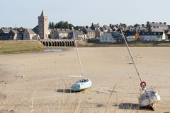 View of Portbail, France, Normandy in tidal Stock Photo
