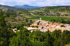 View of  Portel-des-Corbieres  from mount.  France Royalty Free Stock Images