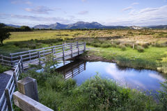 View from Porthmadog Cob towards Snowdonia mountains landscape d Royalty Free Stock Photography