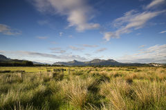 View from Porthmadog Cob towards Snowdonia mountains landscape d Royalty Free Stock Photo