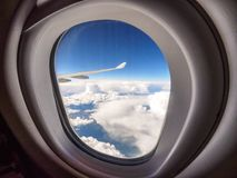 View through the porthole of aircraft