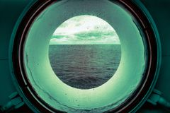View Through the Porthole in Infrared stock image