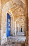 The view of portico roofed colonnaded terrace of the Malta Marit. Kalkara, MALTA - JULY 24, 2015: The view of portico roofed colonnaded terrace of the Malta Royalty Free Stock Images