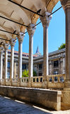 The view of portico roofed colonnaded terrace of The Tiled Kiosk. (Chinili Kiosk). Istanbul Archaeology Museum.  Istanbul, Turkey Royalty Free Stock Image