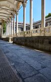The view of portico roofed colonnaded terrace of The Tiled Kiosk. Istanbul royalty free stock photo
