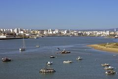 View on Portimao with harbor Royalty Free Stock Image