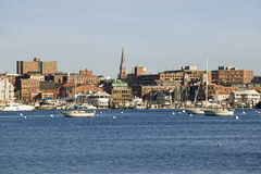 View of Portland Harbor boats with south Portland skyline, Portland, Maine Royalty Free Stock Photography
