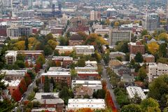 A view of Portland Oregon. Portland Oregon during the fall month where the city becomes a beautiful canvas of various fall colors Royalty Free Stock Image