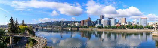 View of Portland, Oregon overlooking the willamette river. United States of America royalty free stock images