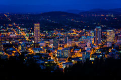 View of the Portland skyline at night, from Pittock Acres Park, Royalty Free Stock Images