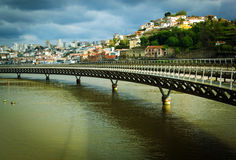 View of Porto across the Duoro river at sunset Stock Photo