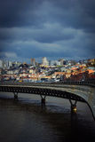 View of Porto across the Duoro river at sunset Stock Photography