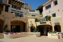View of Porto Cervo with shops Royalty Free Stock Image