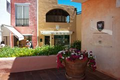 View of Porto Cervo with shops stock photo