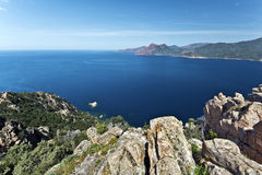 View of Porto Gulf in Corsica from Calanques de Piana. View of Porto Gulf in Corsica Mediterranean Sea Coastline, from Calanques de Piana, magmatic rocks seen at stock images