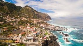 View of Porto Moniz Madeira Portugal aerial Stock Photography
