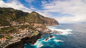 View of Porto Moniz Madeira Portugal aerial Stock Photos