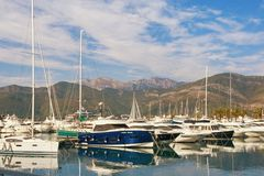 View of Porto Montenegro -  luxury yacht marina in the Adriatic. Tivat, Montenegro Royalty Free Stock Image