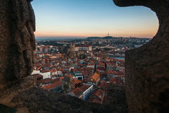 View of Porto old downtown from Clerigos Church, Porto. Royalty Free Stock Photo