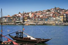 View of Porto, Portugal. View of the Duoro river embarkement, Porto, Portugal Royalty Free Stock Photos