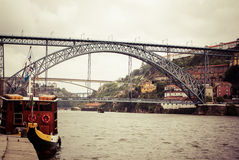 View of Porto in Portugal with the famous bridge over the river Stock Photos