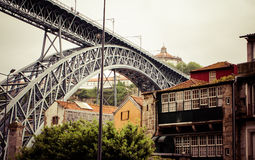 View of Porto in Portugal with the famous bridge over the river Stock Images