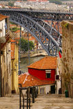 View of Porto in Portugal with the famous bridge over the river Royalty Free Stock Photography