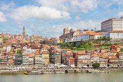 View of Porto Ribeira and Douro river in Porto Stock Images