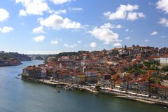 View of Porto with Ribeira over Douro river royalty free stock images