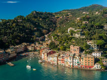View of Portofino. Bay from a nearby hill during the winter Royalty Free Stock Images
