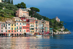 View on Portofino town with color architecture, located between mountains in Italian Liguria, Italy. Stock Photography
