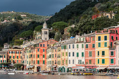 View on Portofino town with color architecture, located between mountains in Italian Liguria, Italy. Royalty Free Stock Images