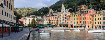 View on Portofino town with color architecture, located between mountains in Italian Liguria, Italy. Stock Images