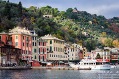 View on Portofino town with color architecture, located between mountains in Italian Liguria, Italy. Stock Image