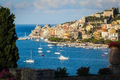 Portovenere, Italy. View of Portovenere from the terrace of a villa in the morning Stock Images