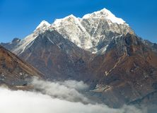 View of Portse village, mount cholatse and Tabuche peak Royalty Free Stock Photography