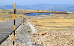 View of Portuguese highmountains, road and lake Stock Photography