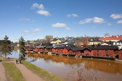 View of Porvoo old town with red wooden sheds, Finland. stock photos