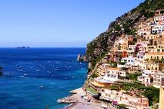 View of Positano. View towards the coastal town of Positano on the Amalfi coast of Italy Royalty Free Stock Photos