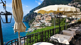 View of Positano from above Stock Photo